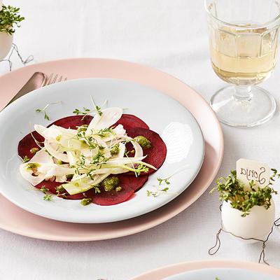 carpaccio of raw beet with fennel and tarragon pesto