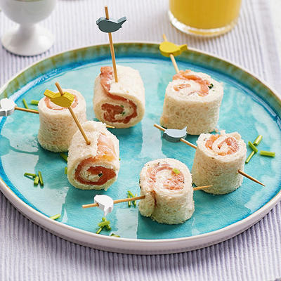 rolls of bread with smoked salmon