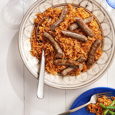tomato pilaf with green beans and merguez