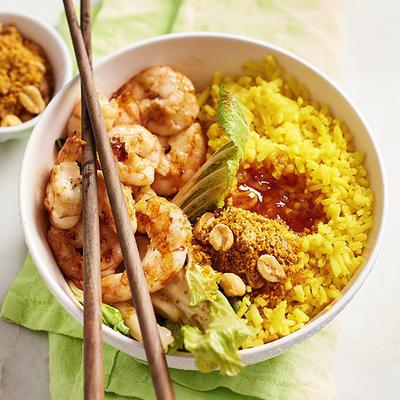 rice bowl with prawns