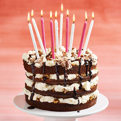 party cake with nuts and chocolate