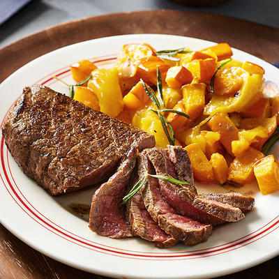 roasted pumpkin and persimmons with fried steak