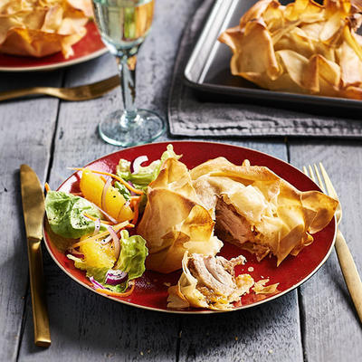 chicken with almond paste in filo pastry
