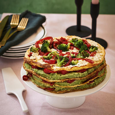 omelette pie with broccoli puree and paprika
