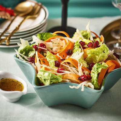 Christmas salad with fennel and cranberries