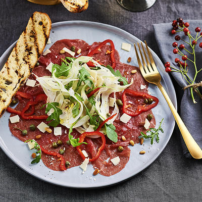 black angus carpaccio with fennel