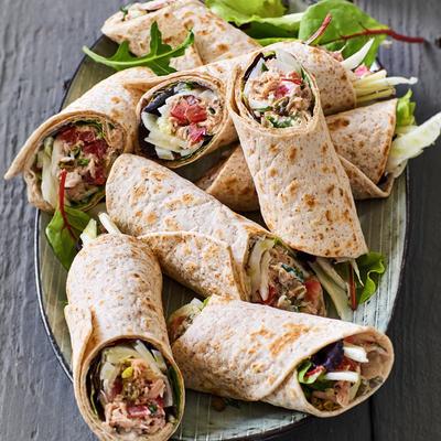 wholewheat wrap with homemade tuna salad