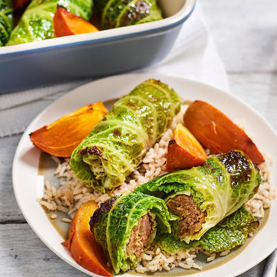 green pickled cabbage trouts with persimmons