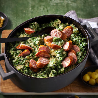classic kale stew with smoked sausage