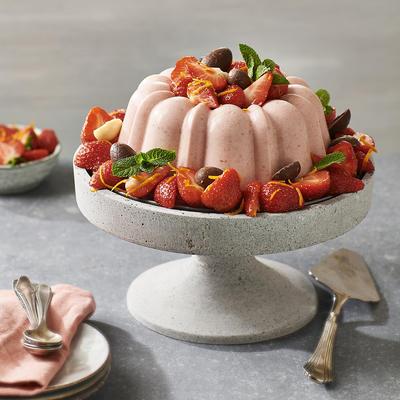 strawberry bavarois with marinated strawberries