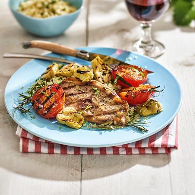 lamb chops with artichoke hearts and tomato
