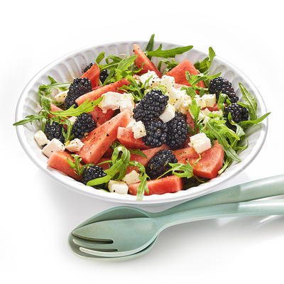 watermelon salad with blackberries and feta
