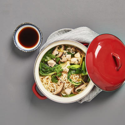 noodle soup with bok choy and chicken