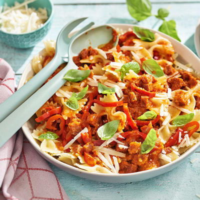 pasta with paprika salami sauce