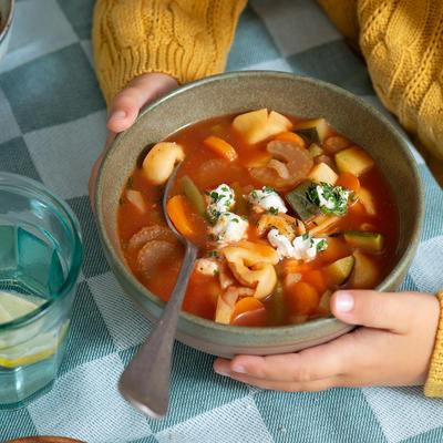tortellini soup with lots of vegetables