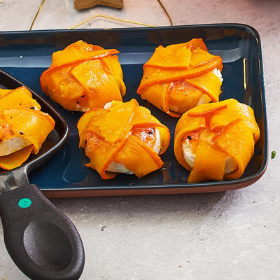 pumpkin package with goat's cheese