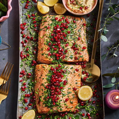 salmon fillet with herb topping