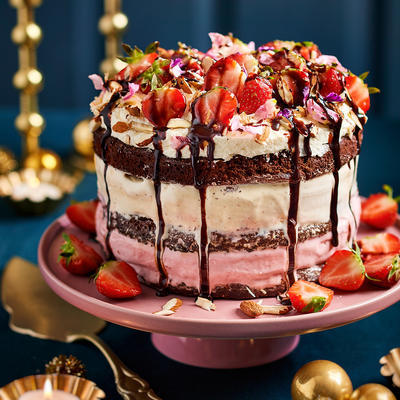 brownie ice-cream cake with vanilla and strawberry ice cream