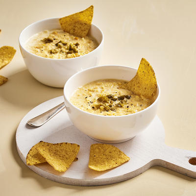creamy corn soup with tortilla chips