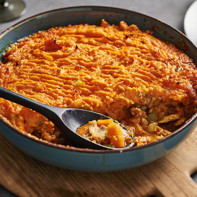 spicy minced meat dish with sweet-potato topping