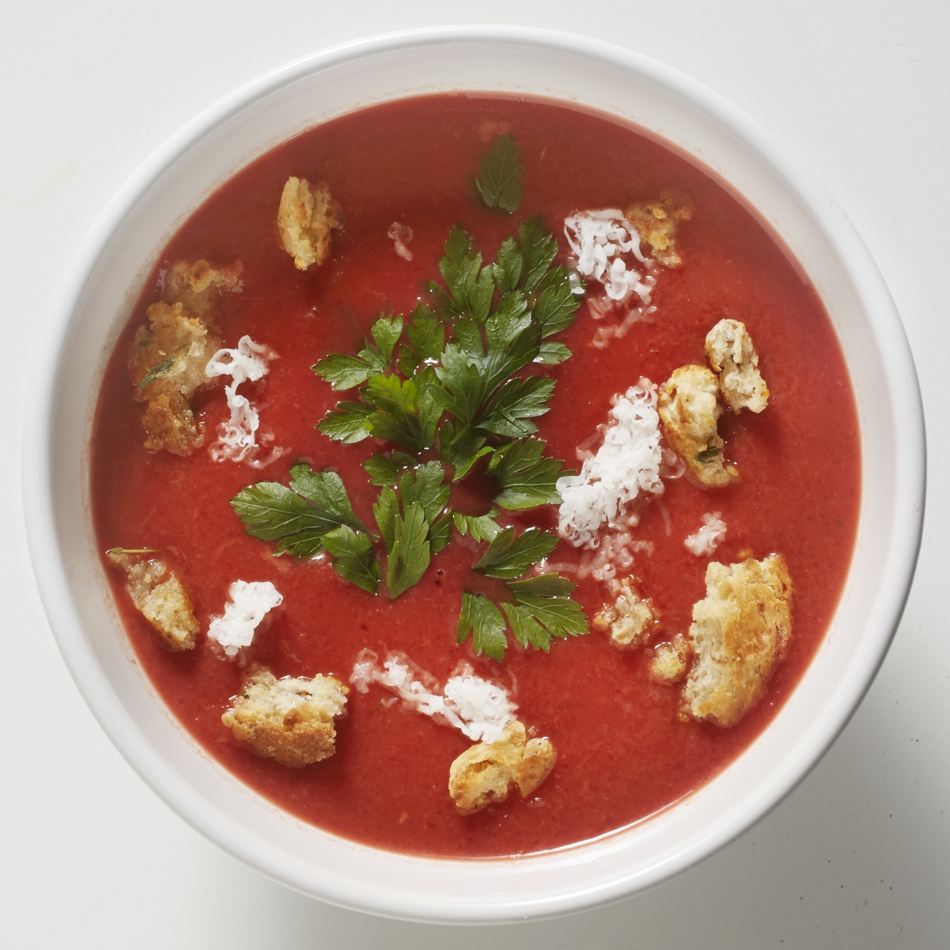 Beet soup with goat's cheese