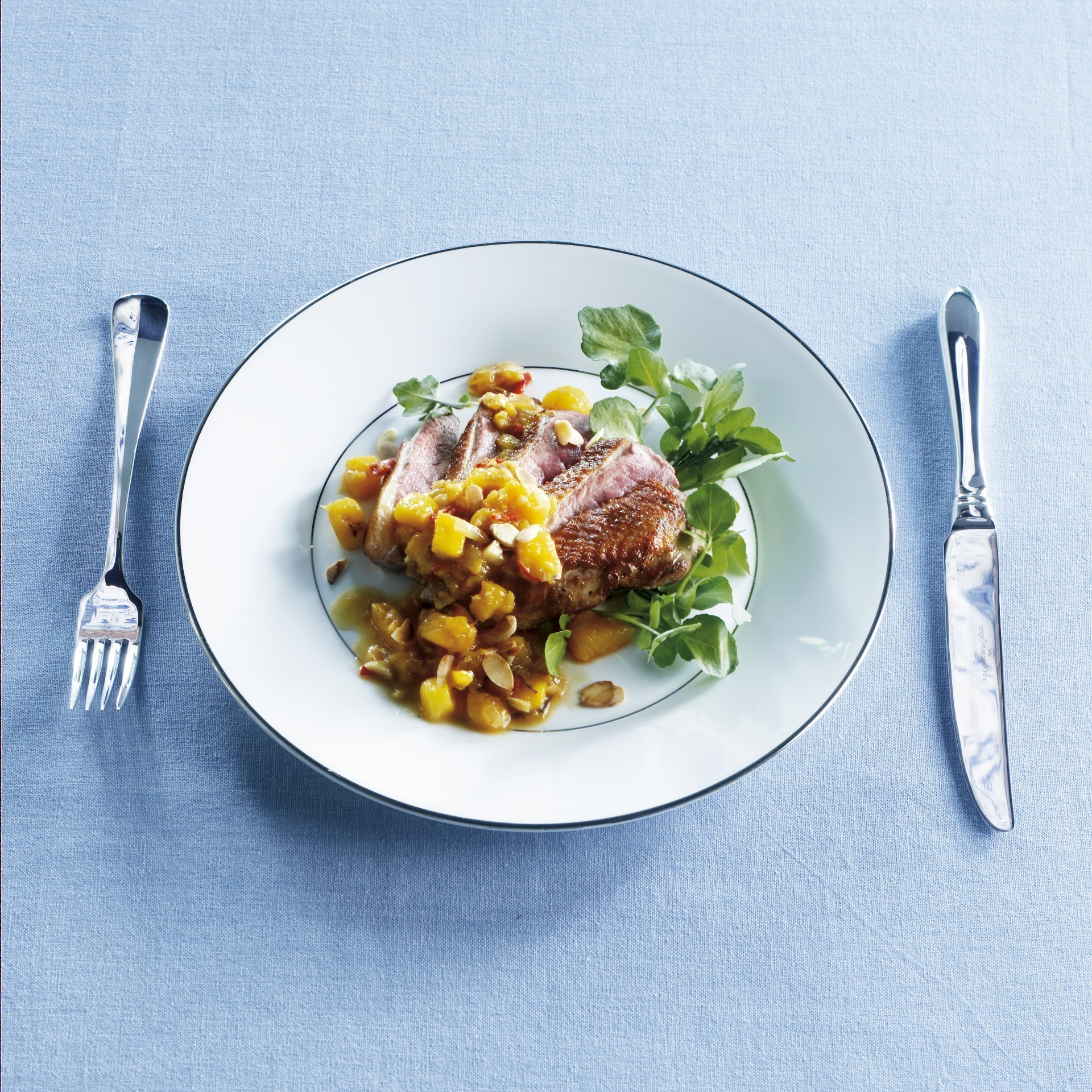 Duck breast with spicy sweet mango salsa