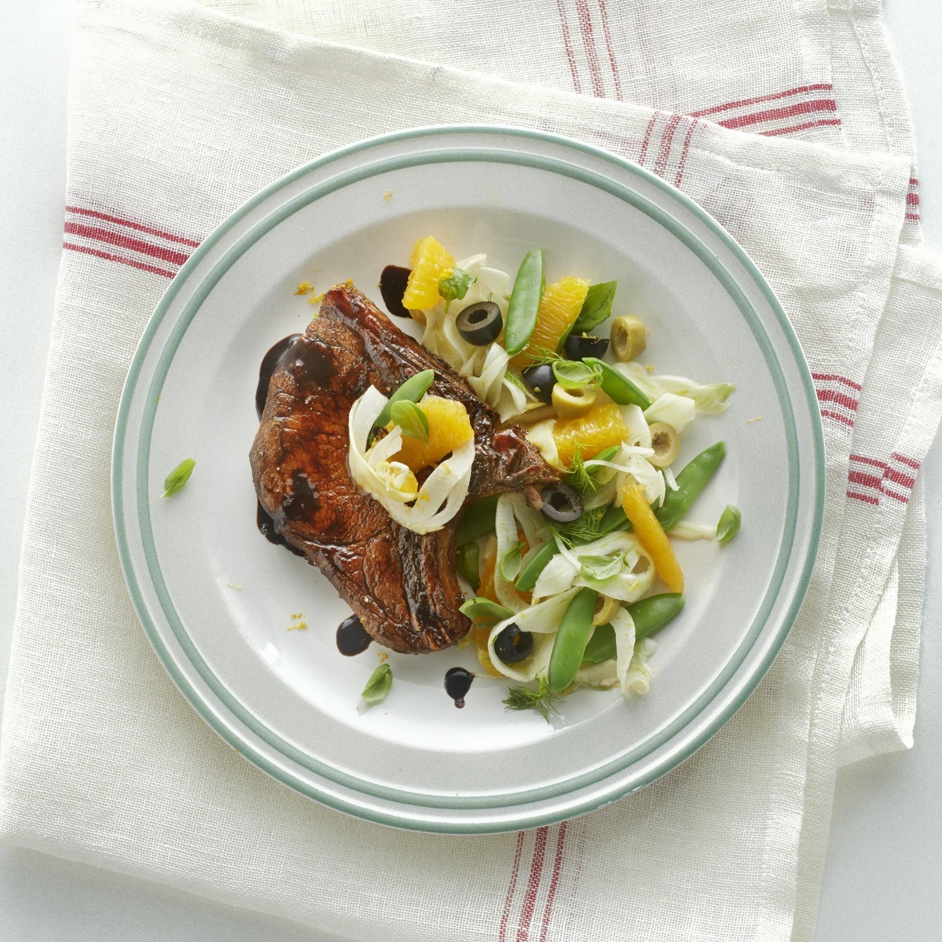 Rib chop in balsamic vinegar