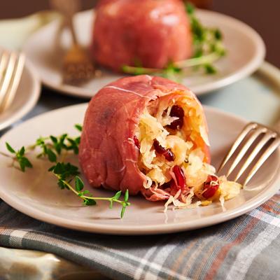 Bonbon of sauerkraut and cranberries