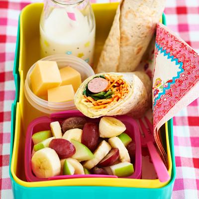 Wrap with egg salad and sausage