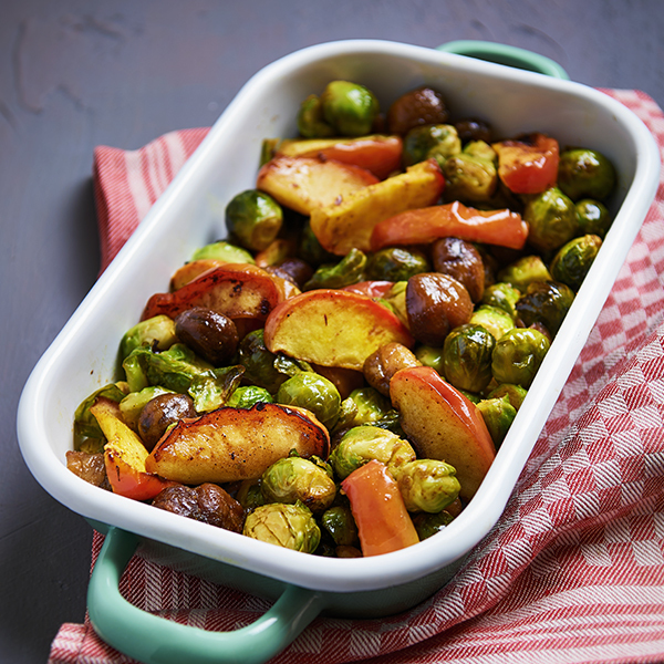 Brussels sprouts with chestnuts from the oven