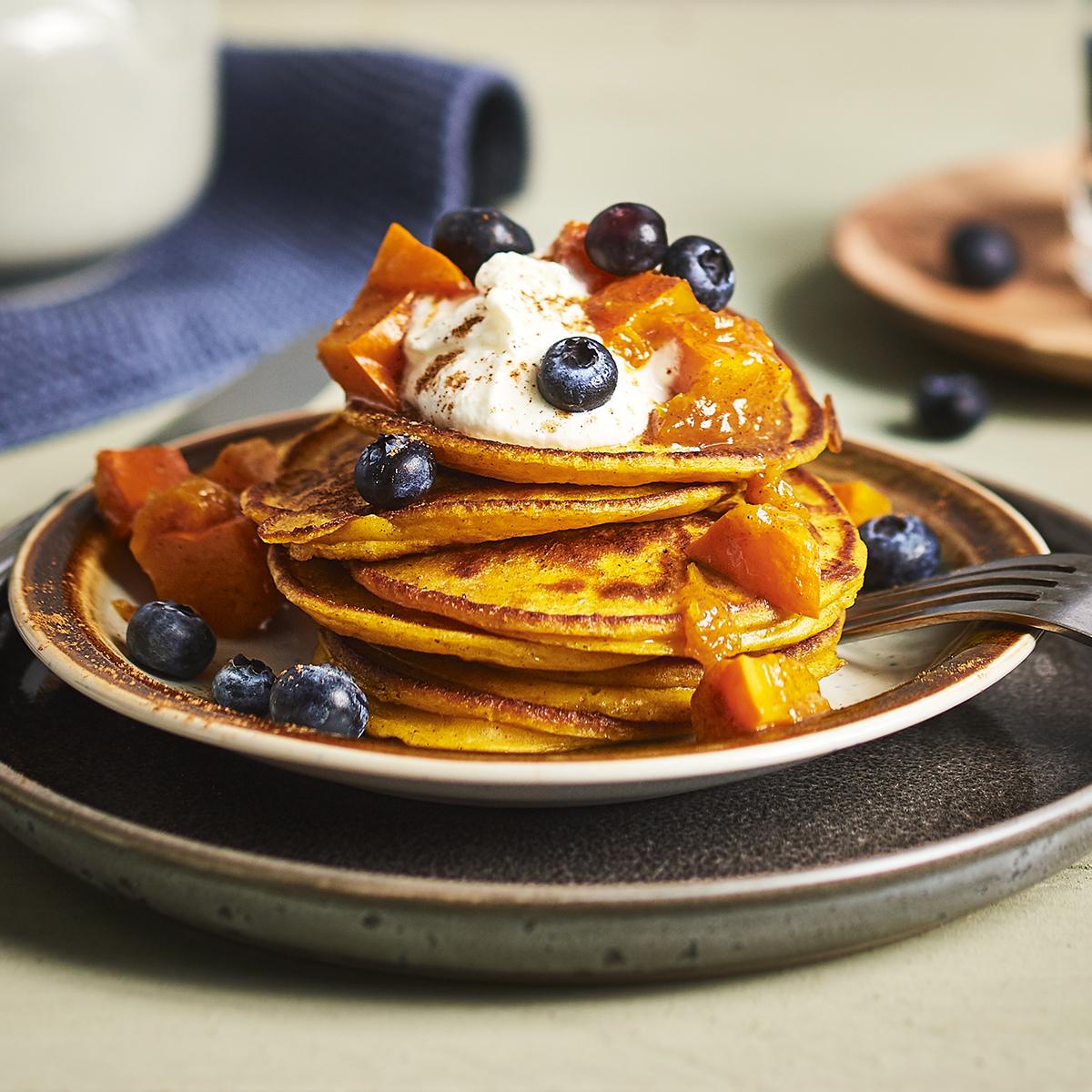 American pumpkin pancakes with pumpkin compote