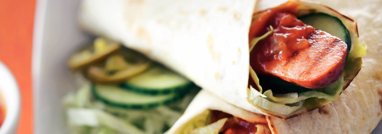 Wrap with grilled smoked sausage