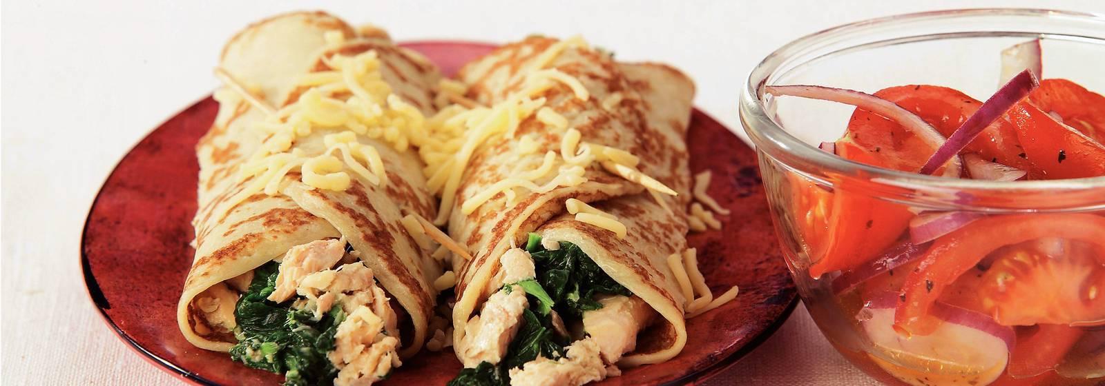 Spinach salmon pancakes