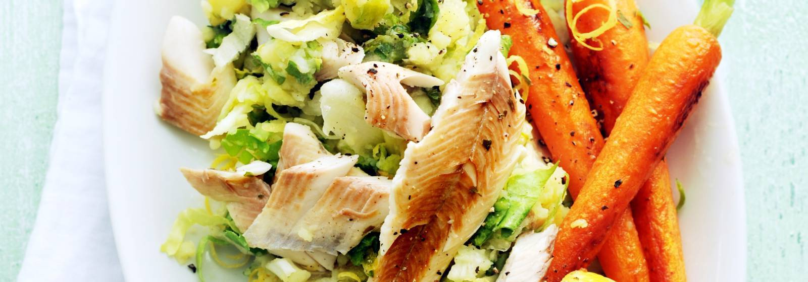 Trout from the oven with endive stew