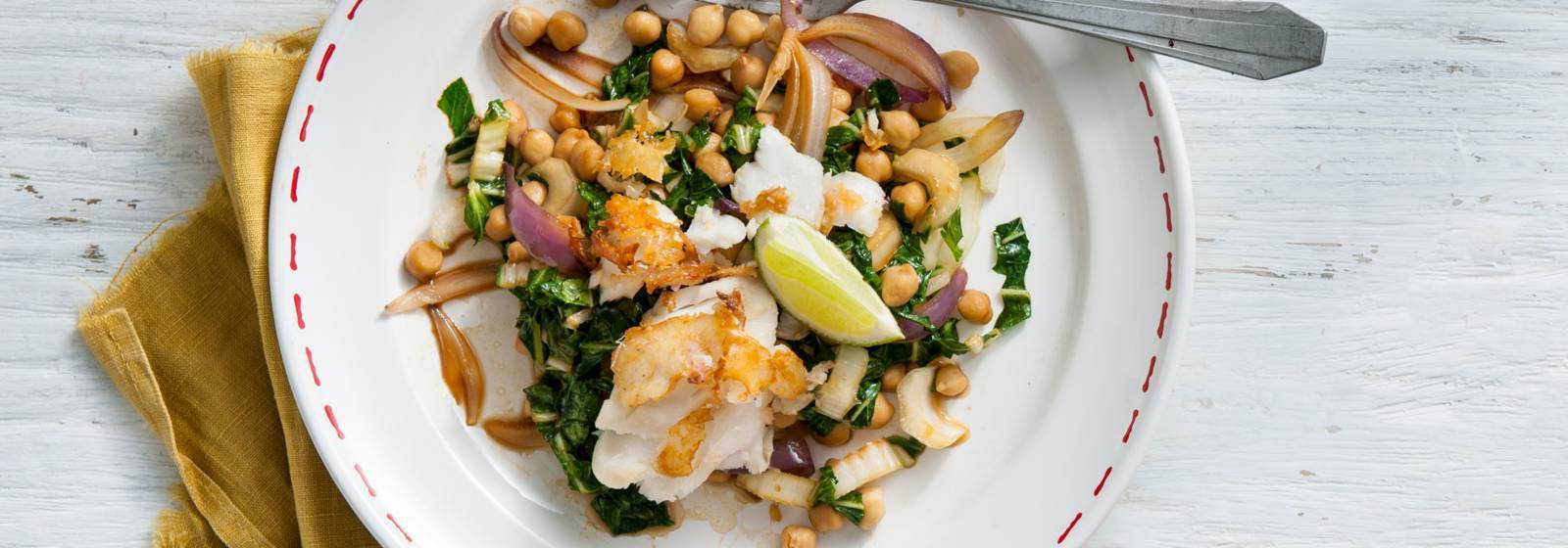 Stir-fried bok choy with chickpeas and cod