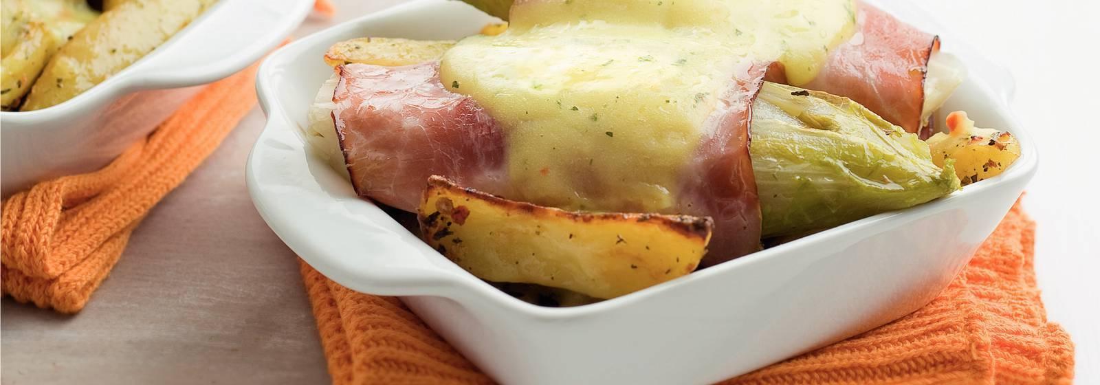 Chicory dish with cheese sauce