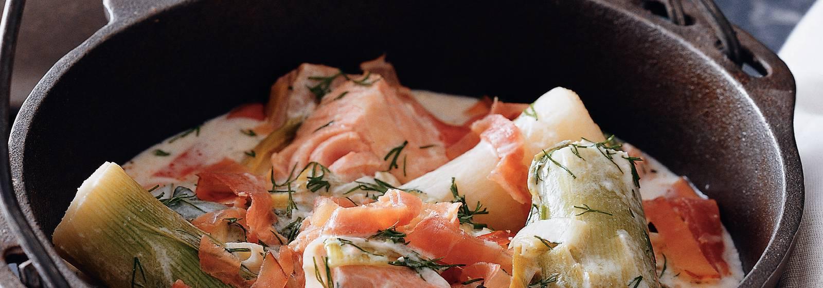 Waterzooi of salmon and leek
