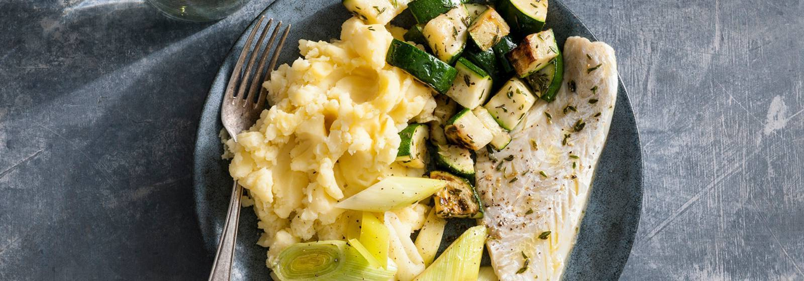 Baked haddock with green vegetables