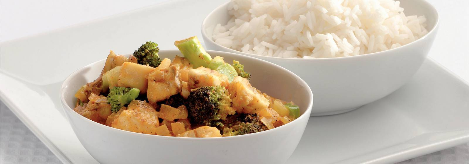 Fast indian fish curry with broccoli
