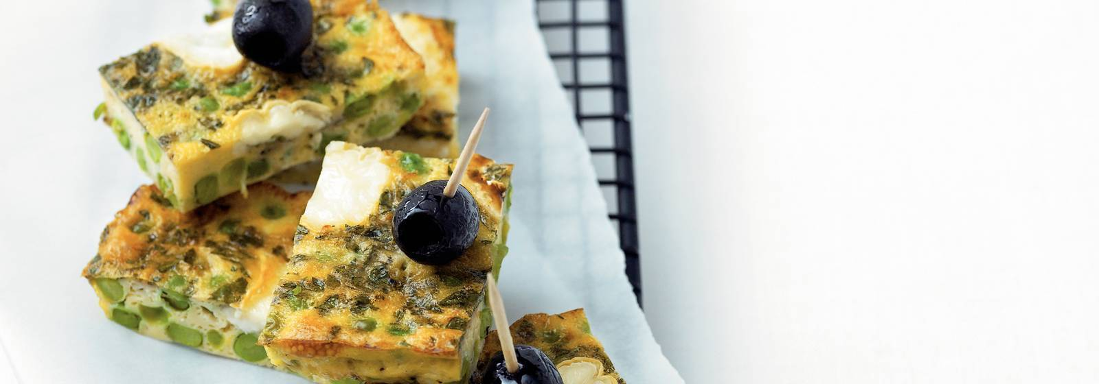 Frittata with peas and goat's cheese