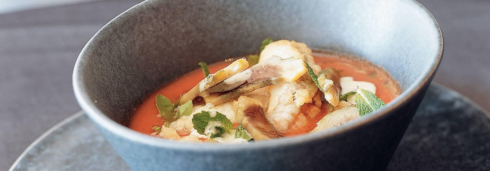 Gazpacho with fried redfish