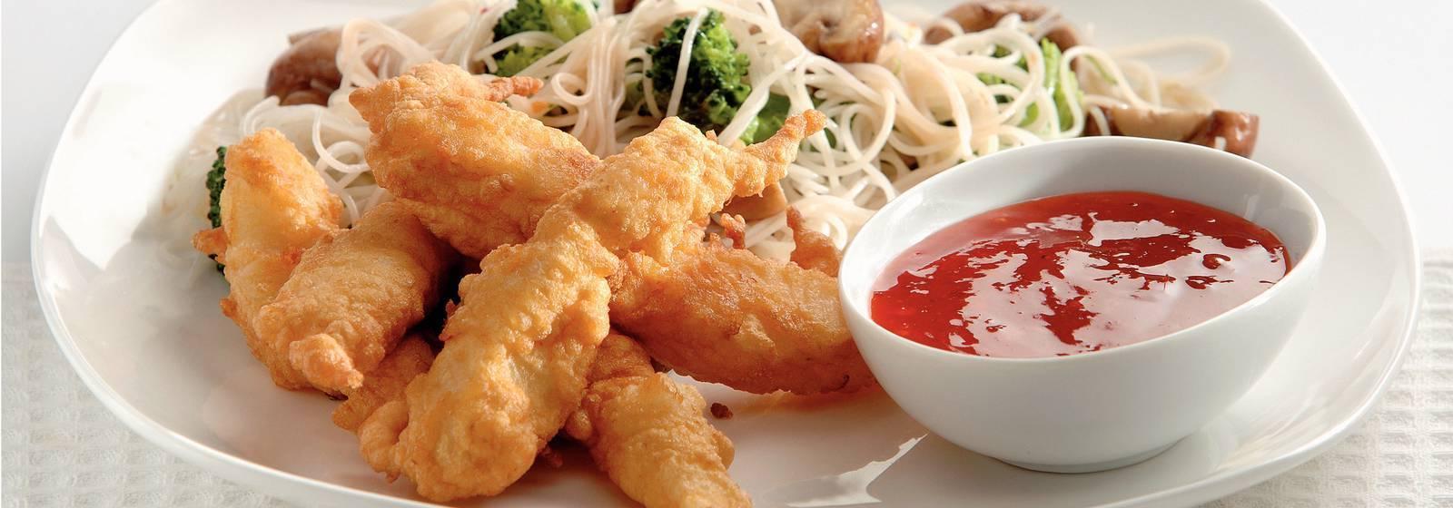 Fish tempura with sweet chili