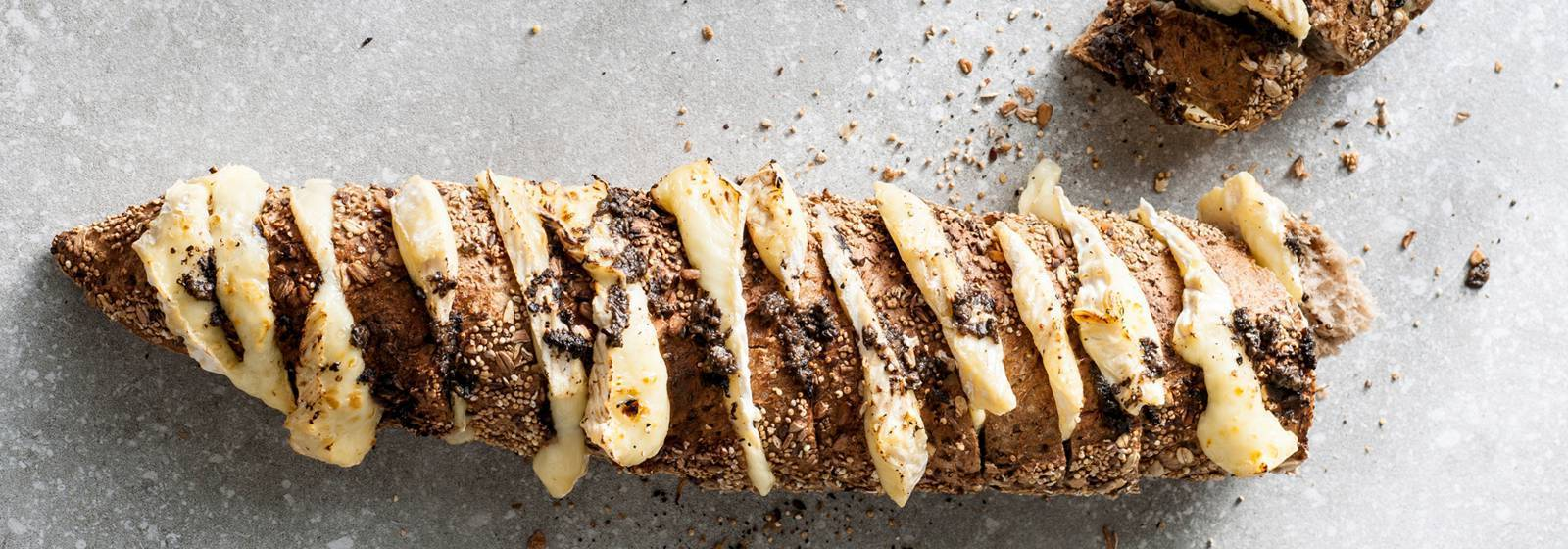 Hasselback stick bread with camembert and truffle