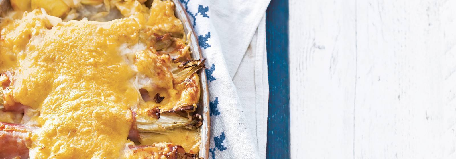 Chicory With Ham And Cheese From The Oven